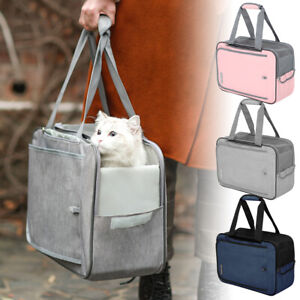 Pet Travel Carrier Bag Portable Cat Bag Folding Fabric Cage with Locking Zippers