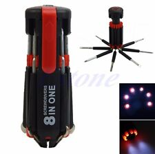 Hot 8 in 1 Multi Screwdriver with 6 LED Torch Tools Light Up Flashlight Set