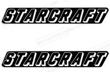 """PAIR OF 4.5""""X28"""" STARCRAFT BOAT HULL DECALS. MARINE GRADE. YOUR COLOR CHOICE"""
