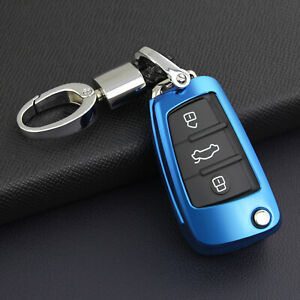 Flip Key Fob Chain Ring Case Cover Holder For Audi A1 A3 Q3 Q7 TT Accessories