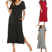 Women's Short Sleeve Nightgown Ultra-Soft Full Length Sleepwear Dress Nightshirt