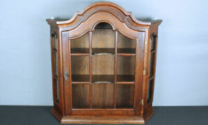 Antique French Country Oak Vitrine w domed top, wall hanging curio cabinet