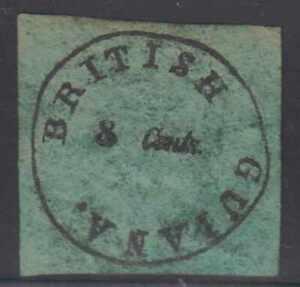 BC BRITISH GUIANA 1850-51 Sc 4 BLACK ON GREEN CRUDE FORGERY (CV$70,000)
