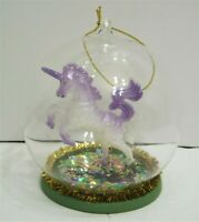 "Unicorn In Glass Ball With Sparkles Purple Christmas Ornament 4.5"" NEW"