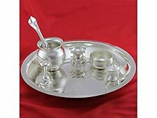 Puja Thali in Artificial German Silver Set Of 7 items for Festivals and Diwali.