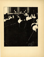 "Original 1898 line block print by Aubrey BEARDSLEY–""The Wagnerians"""