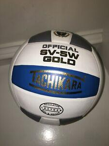 Tachikara SV-5W Gold Competition Premium Leather Volleyball, Blue/White/Grey