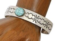 VTG Navajo Buffalo Turquoise Hand Stamped .925 Sterling Silver Cuff Bracelet