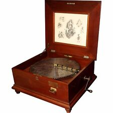 "Penny Operated Regina Mahogany Music Box with Ten 15 1/2"" Discs"