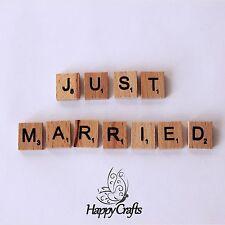 Lettre en bois aimant mot just married