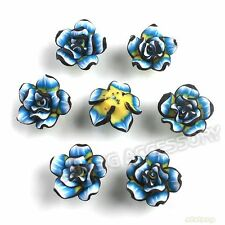 150pcs New Charms Black&Blue Flowers Rose FIMO Polymer Clay Bead Findings 20mm L