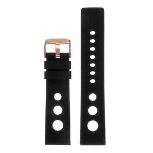 StrapsCo Rubber Rally Racing Watch Band w Rose Gold Buckle - Quick Release Strap