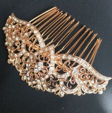 Bridal Wedding Clear Austrian Crystal Rose Gold Hair Clip Comb Hair Piece
