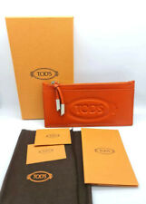 TOD'S LOGO FLAT LEATHER ZIP POUCH WALLET / CARD CASE - AUTHENTIC