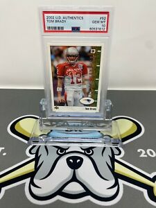 2002 Upper Deck UD Authentics Tom Brady Card #52 PSA 10 GEM MINT RARE CARD!