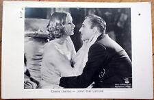 1933 Realphoto Movie Star Postcard: Greta Garbo & John Barrymore - Actress/Actor