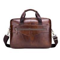 BULLCAPTAIN Travel Shoulder Handbags Men Leather Business Laptop Briefcase