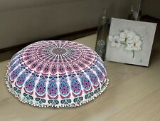 Indian mandala floor pillow pouf cotton boho foot stool embroidery cushion cover