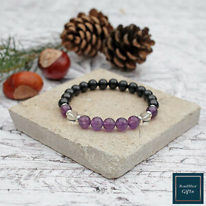 Black Tourmaline Bracelet with Amethyst and Clear Quartz Stretch Fit