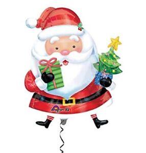 Santa Claus Holding A Christmas Tree Character Anagram Foil Mylar Balloon Decor