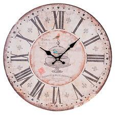 MONTRE VINTAGE Horloge Murale Nostalgie style maison de campagne Paris oiseaux