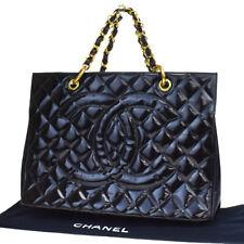 Auth CHANEL CC GST Quilted Chain Hand Bag Patent Leather Black Vintage 603LA824