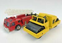 Vintage Toy Car Lot 1982 Matchbox Fire Engine Truck Ladder 1986 Road Roller