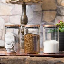 3 x 950ml Glass Storage Jars Copper Lids Tea Coffee Sugar Pasta Flour Canisters