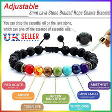 7 Chakra Bracelet Crystals Healing Stones Beads Gemstone Mala Reiki anxiety Men