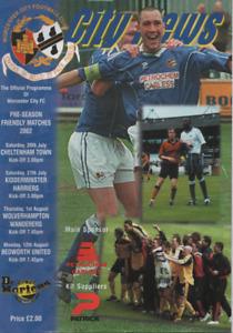 Worcester City v Cheltenham / Kidderminster / Wolves / Bedworth 2002 2002/03