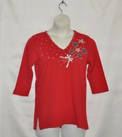 Quacker Factory V-Neck  Pullover Knit Top Size S Red