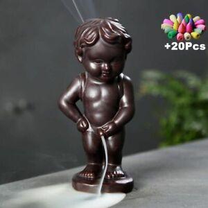 Ceramic Boy Waterfall Backflow Incense Burner Aroma Figurine Holder + 20 Cones