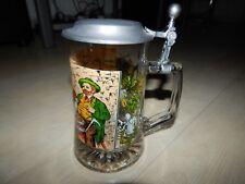 Bierseidel Bierkrug Bierglas mit Zinndeckel und schönem Glasdekor -Stempel ITALY