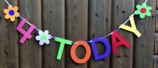 GIRLS 4th BIRTHDAY BANNER PARTY BUNTING MULTI COLOUR