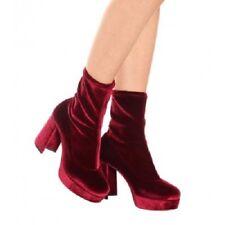 Miu Miu Prada Bordeaux Velvet 95mm Platform Boot Bottie Block Heel 38 / 8 $890