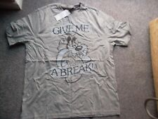 TAZ Loony Toons Grey Give Me A Break with jour L Mens T Shirt Funny Christmas