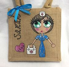 Personalised Hand painted Personalised Nurse Jute Mini Gift Bag 20x20 cm