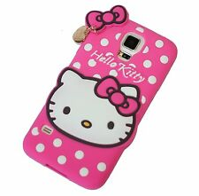 For Samsung Galaxy S5 -PINK HELLO KITTY Soft Tpu Rubber Silicone Cover Skin Case