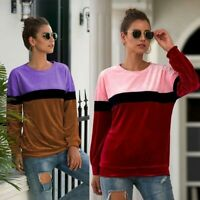 Womens Velvet Casual Ladies T-Shirt Top Long Sleeve Crew Neck Blouse Pullover