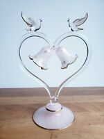 Blown glass wedding cake topper bells and birds doves on heart touch of pink VTG