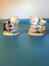 Vintage Homco Figurines Girl With Teddy Bear Boy With Puppy Lot of 2 Figures