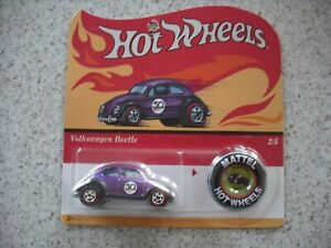 HOT WHEELS 2018 RED LINERS REPLICA WITH BUTTON VW VOLKSWAGEN BEETLE CAR 2
