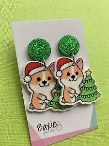 Christmas Dangle Earrings Corgi Dog Xmas Tree, Surgical Stud, Glitter Acrylic