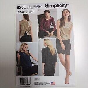 Simplicity 8260 Womens Pullover Top Pattern Lace NEW Uncut Back Detail XXS - XXL