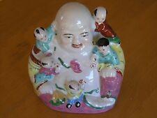 Vintage Porcelain Chinese Famille Rose Figure Buddha Children Wu Zi Deng Ke