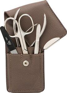 Taupe 4-tlg. Manicure Case Real Leather Becker-Manicure Erbe Solingen Set