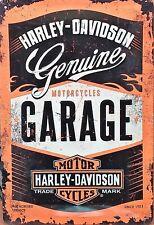 PLAQUE METAL  vintage HARLEY DAVIDSON garage - 20 x 30 cm
