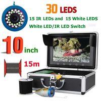 "10"" HD 15M  Fish Finder Underwater Fishing Camera 15pcs White LED+15pcs IR LED"