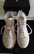 AUTH.15P CHANEL WHITE MESH SUEDE HIGH TOP LACE UP SNEAKERS COMBAT BOOTS SZ40