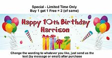 Birthday Party Banner Sign, Balloons Presents Streamer Personalised any age name